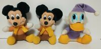 Lot of 3 Vintage 1980s Disney MICKEY'S CHRISTMAS CAROL Plush Stuffed Doll Toy