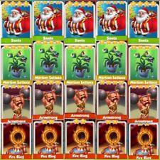 5 x Santa,5x Martian Lettuce ,5x Armstrong ,5x Fire Ring Coin Master Cards