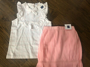 NWT Janie And Jack Girl 2-piece SUMMER pink skirt white checked Party SET 5 6