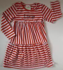 Lolly Wolly Doodle Girls Sz 4/5 Orange White Long Sleeve Stripe Knit Dress LIANA
