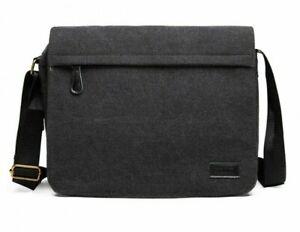 Mens Black Expanding Messenger Laptop Bag Miss Lulu Shoulder Strap 34 x 30 cm