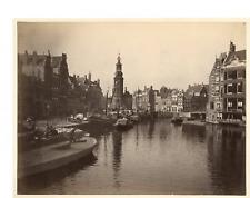 Hollande, Amsterdam Vintage albumen print.  Tirage albuminé  18x24  Circa