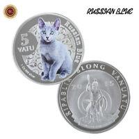 WR 2015 Vanuatu 5 Vatu Russian Blue Cat  Silver Coin Xmas Birthday Gifts Her