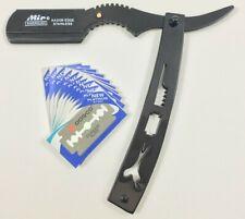 Straight Shaving Razor Barber Folding Knife Steel Handle Black & 10 Blades