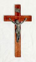 "Antique 1920s Rosewood Mahogany Inlay 12"" Wall Cross Bronze Ebony Crucifix VTG"