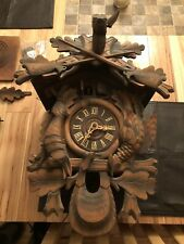 Antique Black Forest Cuckoo Clock Very Large Beautiful Carving All Wood Topper