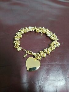 Gold Colored Metal Charm Bracelet - Hearts