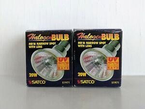 2 PK Satco (S1971) Halogen Bulb MR16 12V ESX Narrow Spot w/Lens 20W - New in Box