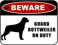 "Beware Guard Rottweiler (Silhouette) on Duty 11.5"" x 9"" Laminated Dog Sign"