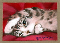 ACEO Limited Edition-Peek-a-boo Kitten, Art print, Gift for cat lovers, For her