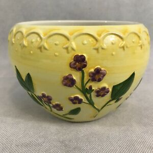 Beautiful Ceramic Floral Flower Pot Planter Made In Portugal Hand Painted