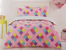 "DOUBLE BED "" DIAMOND QUILTED "" 3 PCE QUILT SET. COLOURFUL REVERSIBLE SPOT PRINT"