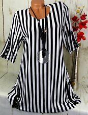 NAVEED Tunika Bluse Shirt Top Lagenlook Longshirt Gestreift Schwarz Weiß 40 42
