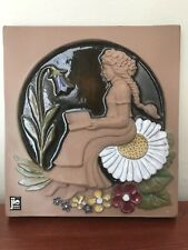 JIE GANTOFTA SWEDEN CERAMIC WALL PLAQUE TILE DAISIES SIGNED MJ Flowers Designer
