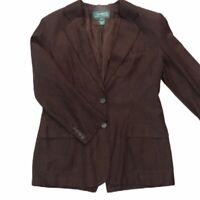 Women's Lauren Ralph Lauren Vintage Silk & Linen Brown Blazer Jacket - Size 10
