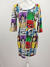 Marvel Womens XL Body Con Dress Comic Print Scoop Neck 3/4 Sleeve RN 71868