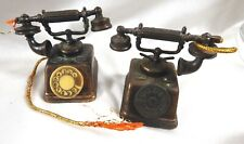 lot of 2 Hong Kong Copper Finish Die cast telephones Miniature Figure doll house