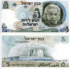 Israel 5 Lirot Banknote World Paper Money Unc Currency Pick p34a 1972 Einstein