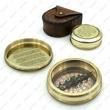 Nautical Brass Poem Compass with leather Christmas Day Gift-antique compass