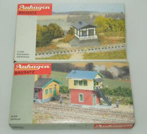 Auhagen Spur N 14455 + 40450 - Schrankenwärterhaus und Stellwerk - Bausätze
