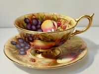 Aynsley Orchard Fruit - Cup & Saucer, Fine English Bone China with Gold Trim