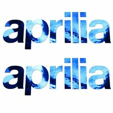 APRILIA Cromo Azul Texto MOTO PEGATINA dibujo ADHESIVOS x 2 piezas pequeño