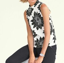 New NEXT Cream/Black Floral Turtleneck Sleeveless Blouse Top 6 8 10 12