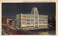 SHARON PENNSYLVANIA P.H.C. BUILDING & STATE STREET~NIGHT VIEW POSTCARD 1940