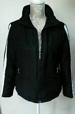 Tommy Hilfiger Women's Down Jacket Coat MED Black White Stripes Sleeves GREAT!