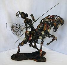 Mid century modern brutalist wire knight and horse statue figure Signed Reyes