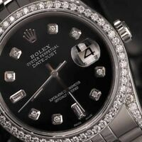 Rolex 36mm Datejust SS Custom Black 8+2 Dial Jubilee Bracelet Diamond Watch