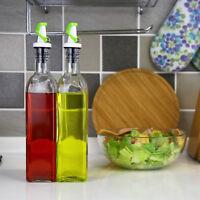 Evelyne 500ml 17oz Oil And Vinegar Dispenser Glass Bottles Kitchen Cruet Set