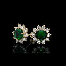 2CT Round Created Green Emerald Diamond Earrings 14k Yellow Gold Studs Screwback