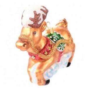 Novelty Glass Handmade Reindeer Christmas Decoration Tree Ornament Bauble