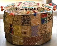 Beige Large Indian Pouf Ottoman Cover pouffe pouffes Foot Stool Ottoman Pouf