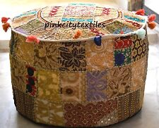 Beige Large Indian Pouf Ottoman Cover pouffe pouffes Foot Stool Ottoman Pouf 18""