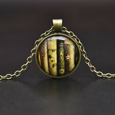 Teacher's Book Gift Cabochon Tibetan Bronze Glass Chain Pendant Vintage Necklace