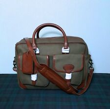 NWT Polo Ralph Lauren Men's Green Twill Canvas /Leather Commuter Messenger Bag