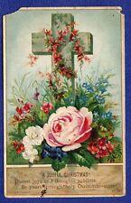 KM080 Vtg Old Xmas Card C.D. < 1900