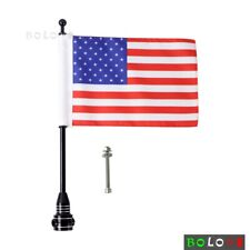 1x Motorcycle Black Aluminum Rear Side Mount Flag Pole with USA Flag For Harley