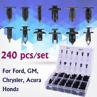240pcs Plastic Rivets Fastener Door Push Pin Clips Bumper Fender For Ford