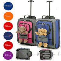 Kids/Childs Small Young Pink/Blue Cabin Hand Luggage Trolley Backpack Light Bags