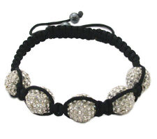 Black Macrame 14MM 5 Crystal Bead Shamballa Adjustable Bracelet