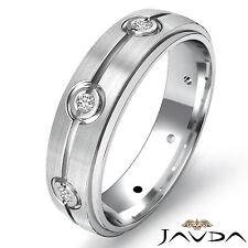 Eternity Wedding Band Round Diamond Mens Step Edged Ring 14k White Gold 0.10Ct