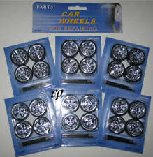 6 SET CAR WHEELS FOR REPAIRING ADD ON CUSTOM  1:24 CARS