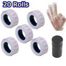20 Rolls 600/Roll White Price Gun Paper Tag Sticker Labels for Mx 5500 + 2 ink