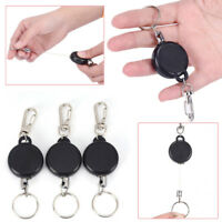 Retractable Key Chain Reel Steel Cord Recoil Belt Ring Badge Pass ID Card Holder