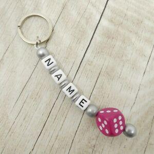 Schlüsselanhänger mit Namen, Würfel pink, silber, Mädchen, Geschenk