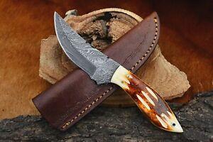 MH KNIVES CUSTOM HANDMADE DAMASCUS STEEL FULL TANG HUNTING/SKINNER KNIFE D-34J
