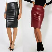 Womens Ladies Leather Pencil Skirt Sexy Wet Look Stretch PU Mini Midi Bodycon